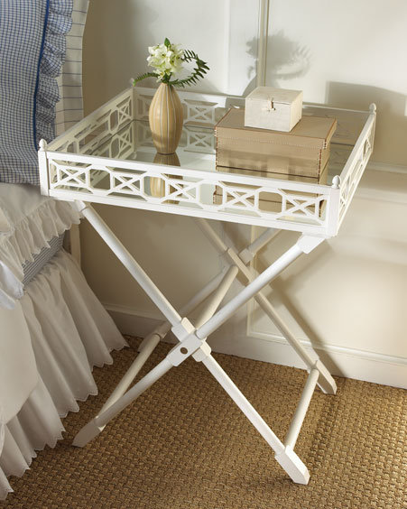 Mirrored-Top Tray Table