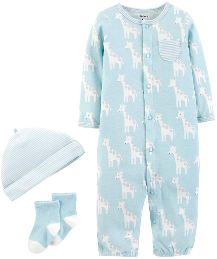 Baby Boy Patterned Convertible Coverall Gown, Cap & Socks Set