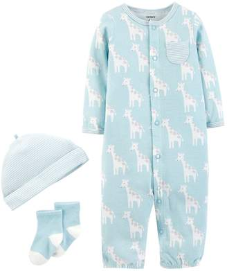 Carter's Baby Boy Patterned Convertible Coverall Gown, Cap & Socks Set