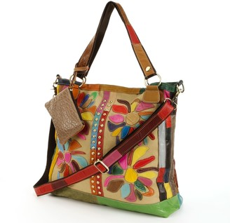 Rosalie Amerileather AmeriLeather Leather & Canvas Floral Patched Convertible Tote