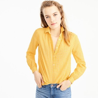Tall gathered popover shirt in microgingham $59.50 thestylecure.com