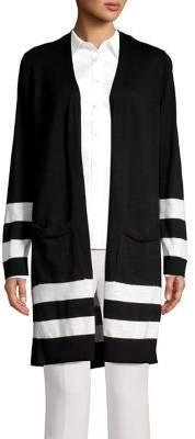 Jones New York Contrast Striped Cotton Cardigan