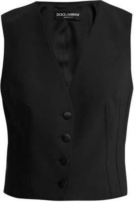 Dolce & Gabbana Satin-back cropped wool-blend waistcoat