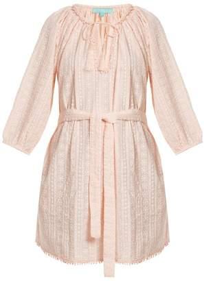 Melissa Odabash Alicia Waist Tie Embroidered Cotton Dress - Womens - Pink