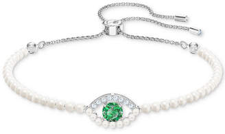 Swarovski Silver-Tone Crystal & Imitation Pearl Evil Eye Slider Bracelet