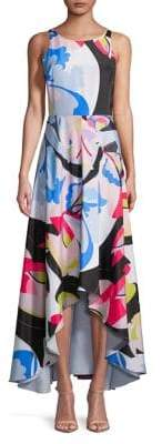 Nicole Miller New York Printed Asymmetric-Hem Sleeveless Dress