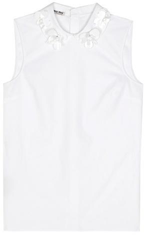 Miu MiuMiu Miu Exclusive to mytheresa.com – sleeveless embellished cotton top