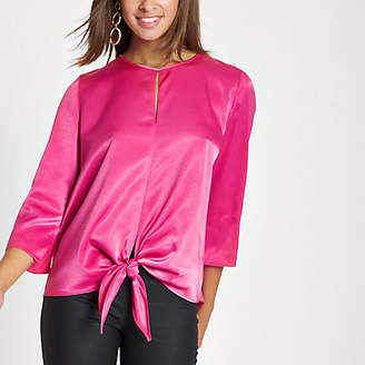 River Island Pink tie front long sleeve top