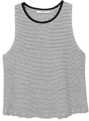 MANGO Striped linen t-shirt