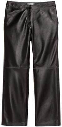 H&M Ankle-length Leather Pants - Black