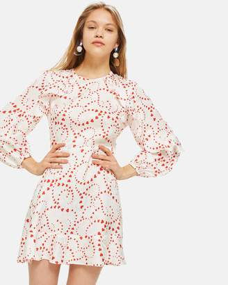 Topshop Heart Jacquard Tea Dress