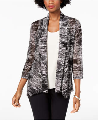 Kasper Draped-Front Printed Knit Cardigan Jacket