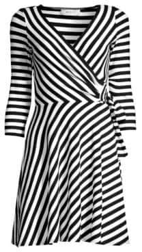 Bailey 44 Ribbed Faux-Wrap Striped Dress