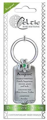 Celtic Shamrock Gift Birthstone Keyring August Peridot Gemstone