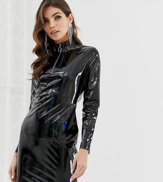Asos Design DESIGN high neck PU mini dress with zip