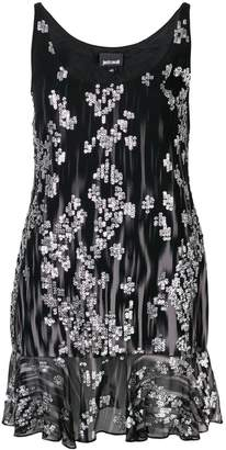Just Cavalli sleeveless embroidered mini dress