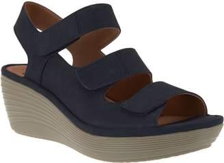 Clarks Nubuck Triple Strap Wedge Sandals - Reedly Juno