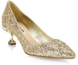 Miu Miu Glitter Slip-On Pumps