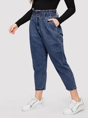 Shein Plus Paperbag Waist Crop Jeans