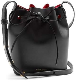 Mansur Gavriel Red Lined Mini Mini Leather Bucket Bag - Womens - Black Red