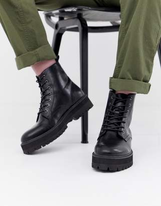 Asos Design DESIGN black lace up boots in faux leather with raised chunky sole