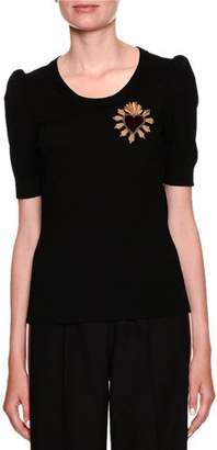 Dolce & Gabbana Short-Sleeve Scoop-Neck Knit Top w/ Heart Applique