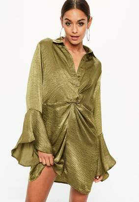 Missguided Khaki Hammered Satin Twist Waist Dress
