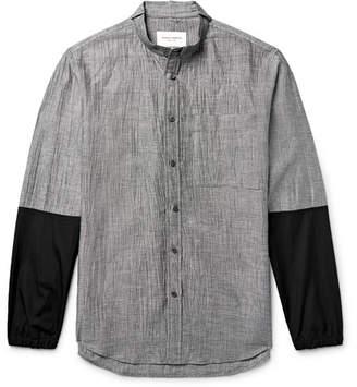 Public School Grandad-Collar Poplin-Trimmed Micro-Checked Linen-Blend Shirt