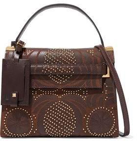 Valentino Studded Laser-Cut Textured-Leather Shoulder Bag