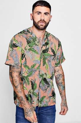 boohoo Tropical Leaf Print Revere Collar Oversized Shirt