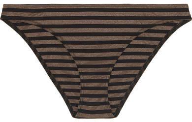 Backgammon Hasard Striped Stretch-lurex Bikini Briefs - Black