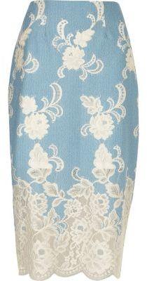 River Island Womens Light blue floral lace pencil skirt $90 thestylecure.com