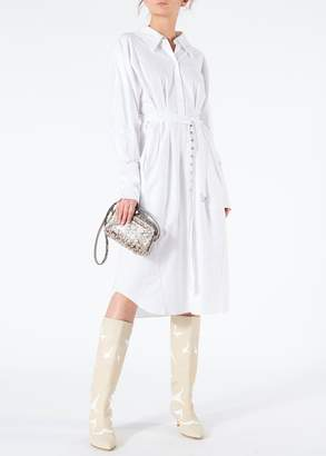 Tibi Watts Oxford Shirtdress with Zipper Detail