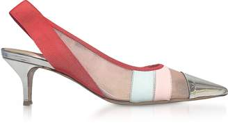 DELPOZO Color Block Leather and Mesh Sligback Shoes