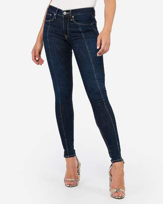 Express Mid Rise Dark Wash Denim Perfect Ankle Leggings