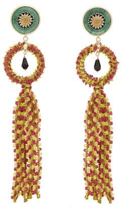 Etro Crystal Embellished Tassel Drop Earrings - Womens - Green