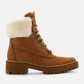 64b7e4069399 Timberland Women s Courmayeur Valley Shearling Lace Up Boots - Saddle