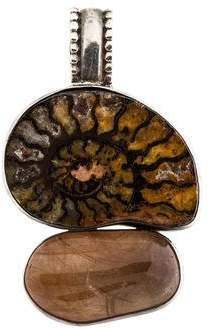 Rebecca Collins Ammonite & Rutiled Quartz Pendant