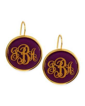 Moon and Lola Monogrammed Circle-Drop Acrylic Earrings