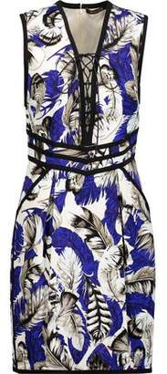 Roberto Cavalli Lace-Up Printed Piqué Mini Dress