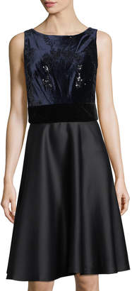 Taylor Embroidered Fit-and-Flare Combo Dress