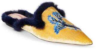 Alberta Ferretti Yellow Real Mink Trim Embroidered Mules