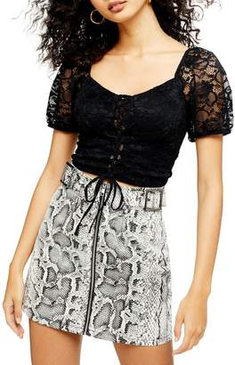 Topshop Puff Sleeve Lace Crop Top
