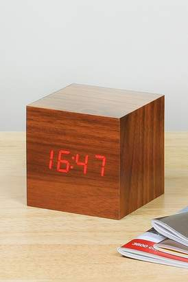GINGKO Cube Click Clock - Walnut/Red LED