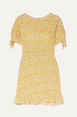 Faithfull The Brand Daphne Bow-detailed Floral-print Crepe Mini Dress - Yellow