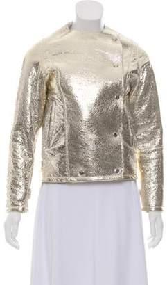 Nour Hammour Leather Metallic Jacket w/ Tags Gold Leather Metallic Jacket w/ Tags