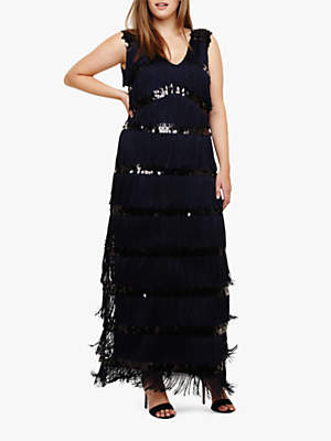 Starlet Fringe Maxi Dress, Navy