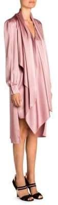 Fendi Draped Tie-Neck Satin Dress