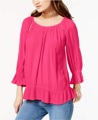 INC International Concepts I.n.c. Petite Crochet-Trim Peasant Top, Created for Macy's