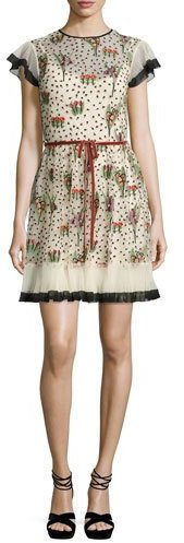 RED ValentinoRED Valentino Blooming Garden Short-Sleeve Tulle Dress